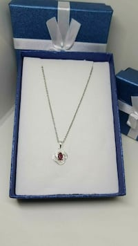 Sterling Silver Necklace with Ruby Stone
