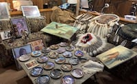 Indian collection of plates, mandellas,statues,ect