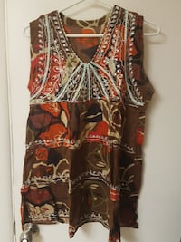 brown and red floral v-neck sleeveless top Regina, S4R 3T8