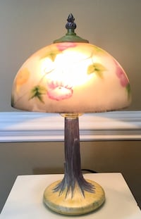 Small Vintage Hand Painted Lamp with Floral Glass Globe & Matching Finial ***Pending Pick Up *** Wilmington, 28405