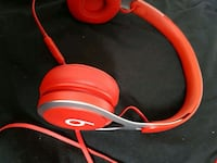 red Beats by Dr. Dre corded headphones