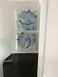 Pair of abstract canvas art paintings  Burlington