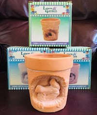 """Three Sculptured Terra Cotta Flower Pots (4"""" Tall) Bundle. All for $10. - BRAND NEW. **See what else I have for sale Stockton, 95209"""