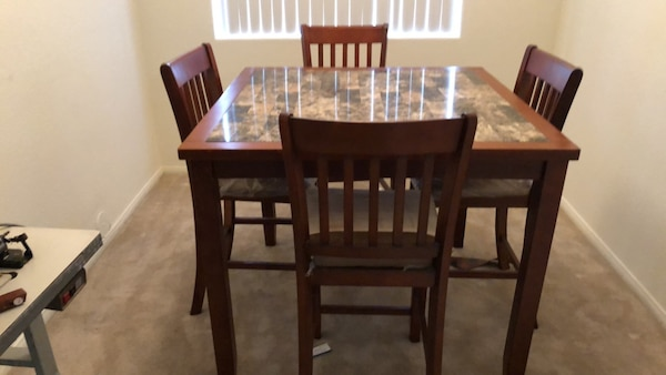 Used Brown Wooden Dining Table Set For Sale In Las Vegas