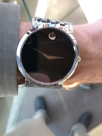 round silver-colored analog watch with black leather strap Edmonton, T6R 0R8