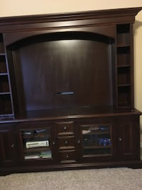 brown wooden TV hutch with flat screen television Washington, 20024