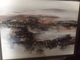 ORIGINAL SIGNED ACRYLIC LANDSCAPE PAINTING ON CANVAS BY JAN DORER