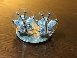 Clear Swarovski Butterfly Post Earrings with Antennas