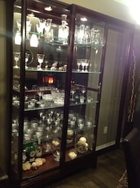 Brown wooden framed glass display cabinet Newmarket, L3Y 7T7