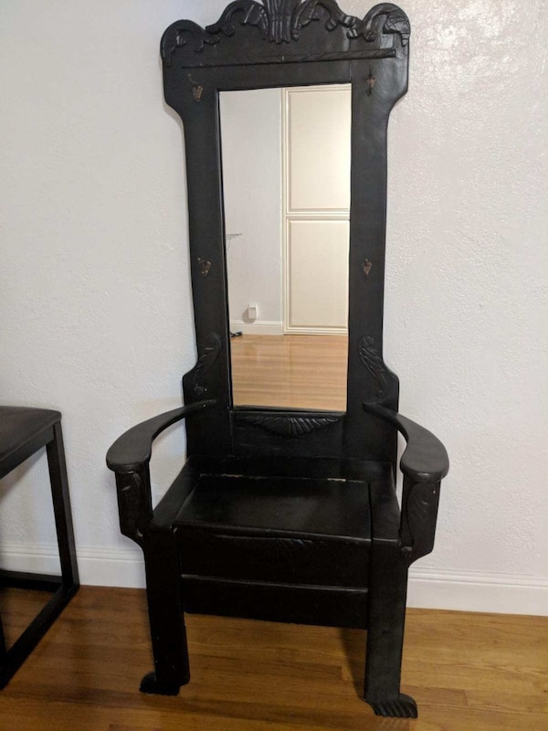 Black Wooden Framed Leaning Mirror