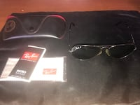 black framed Ray-Ban sunglasses with case