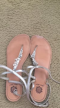 Grey badazzled ankle-strap flats w Size 7 1/2 worn only once to a wedding and in perfect condition!! Willing to negotiate asking price which is $21.95. A beautiful shoe that are both comfy and adorable!!  West Vincent, 19425