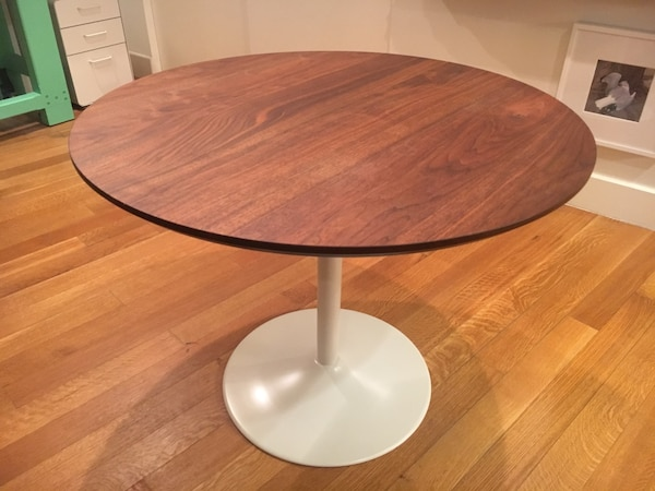 Used Cb2 Table Base With Custom Solid Walnut Top For In New York Letgo