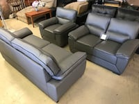 gray leather sofa set with throw pillows Garland, 75041
