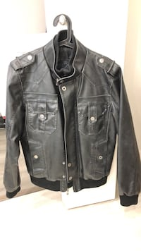 Black medium like-leather guess jacket  Vancouver, V5R 1W3