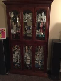 Brown wooden framed glass display cabinet Waterford Works, 08089