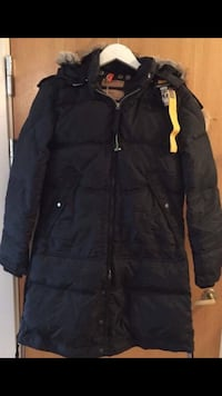 svart boble zip-up parka frakk