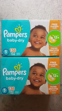2 Brand New Pampers Baby Dry Size 5 136 count  Mississauga