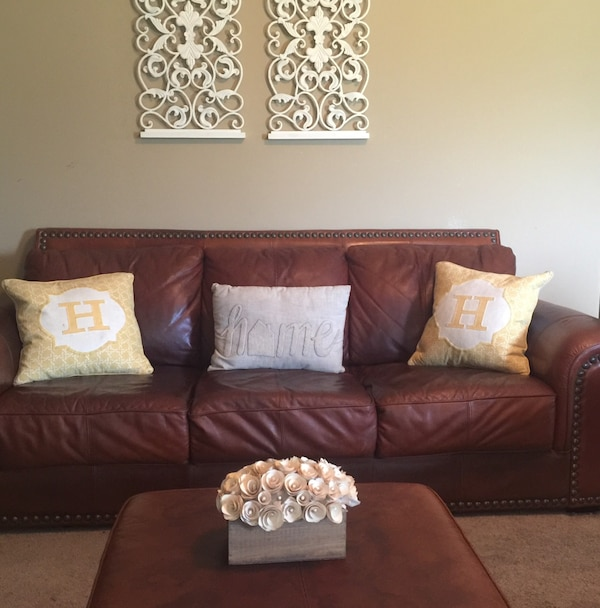 Used Three Piece Genuine Leather Living Room Set For Sale