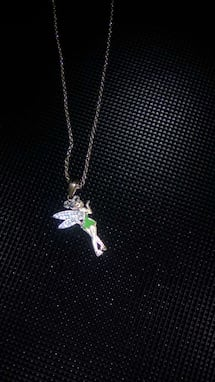 Silver and green necklace