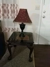 black and Burgundy table lamps and end table with  50 km