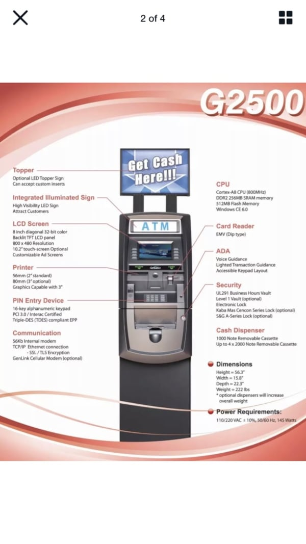 ATM Machine Brand New Genmega free shipping ATM certified dealer 0a07be1b-982b-4276-a31c-23f289fe8c00