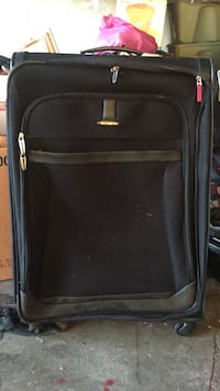 black and gray luggage