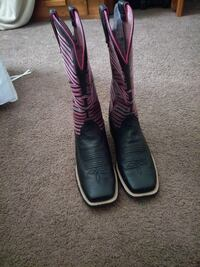 pair of black-and-pink leather square-toe cowboy boots