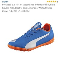 Boys Brand New Puma Soccer Shoes Sterling, 20164