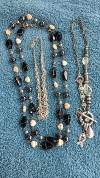 Two black and grey beaded necklaces