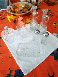 set of clear cruets, S&P, sugar and creamer, and butter dish Hagerstown, 21740