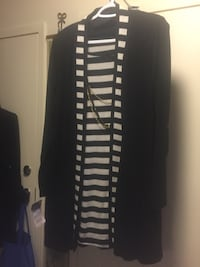 black and white stripe long-sleeved dress 785 km