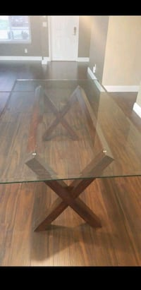 Glass Table with Wooden Base
