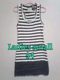 white and black stripe tank top Calgary, T3B 0T3