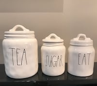 Rae Dunn Tea,Sugar, Eat Canisters