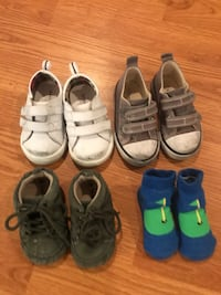 Baby boy shoes free- size 3 and 4. Both sneakers very scuffed!