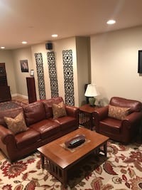 Broyhill leather sofa & matching chair.