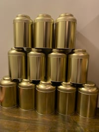 Large Golden Tin Tea Containers
