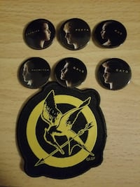 The Hunger Games character pins and patch. Taunton, 02780