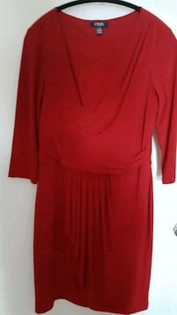 red scoop-neck long-sleeved dress 714 km