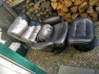 two black leather sofa chairs Stockton, 95210
