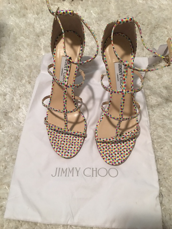 f2acb4d5561 Used white-pink-and-blue polka dot jimmy choo strappy sandals for sale in  Lewisville