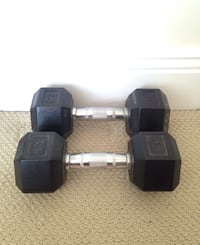 Two 20lb rubber coated hex dumbbells, perfect condition 25$ each
