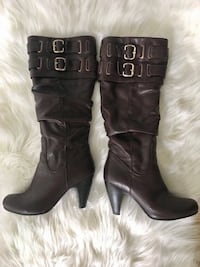 DARK BROWN REAL LEATHER BOOTS BOTTES VRAI CUIR BRUNE size 7 Laval, H7P 1Z7