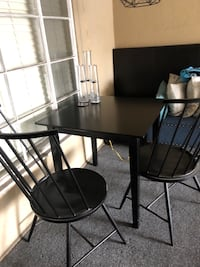Black squared kitchen table w/ two chairs  West Hollywood, 90046