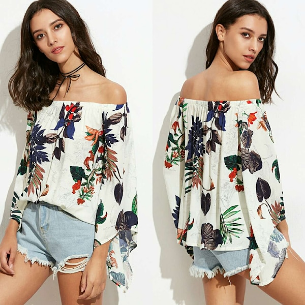 f3864a9c80 Used New (one size) tropical print off shoulder blouse for sale in Rockdale  - letgo