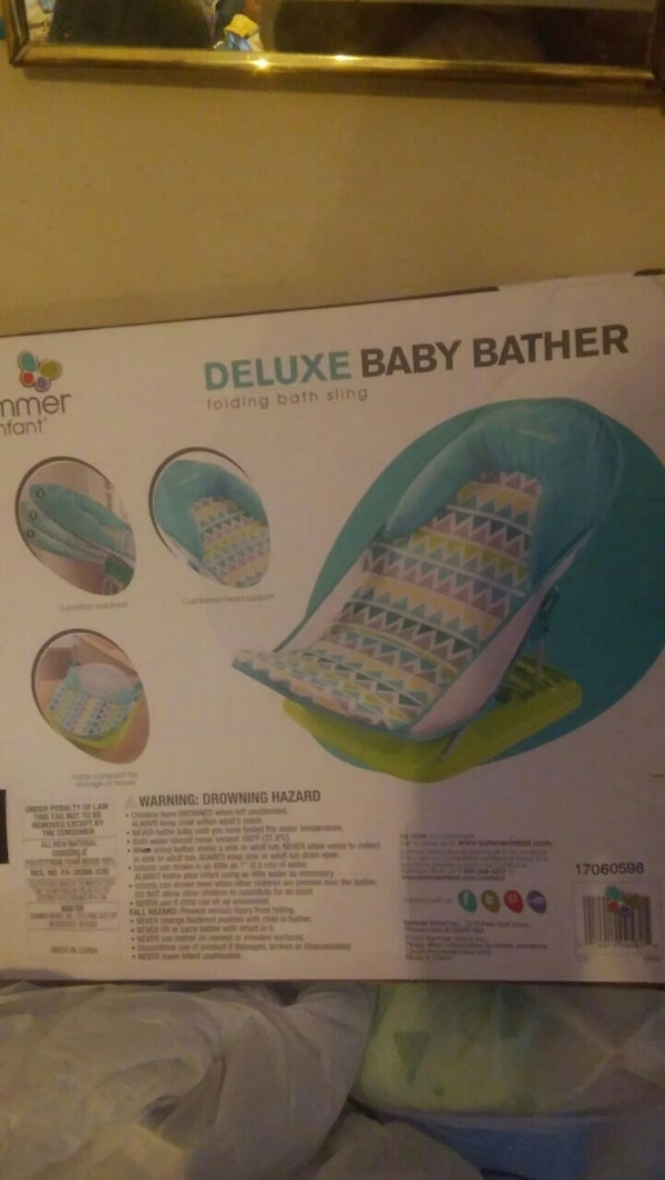 Used blue and green Summer Infant deluxe baby bather box for sale in ...