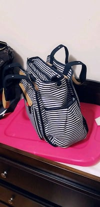 black and white stripe leather backpack Montréal, H1H 1N6