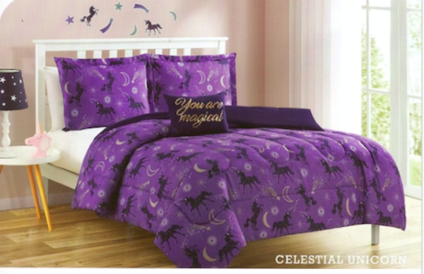Full Unicorn Comforter Set with Shams, Decorative Pillow and Wall Decals