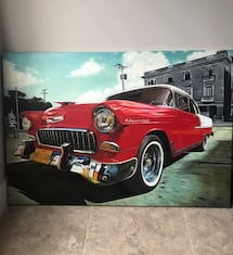"Painting/hand painted in Cuba 55chevy bel air 49""x34""x1 1/2"""